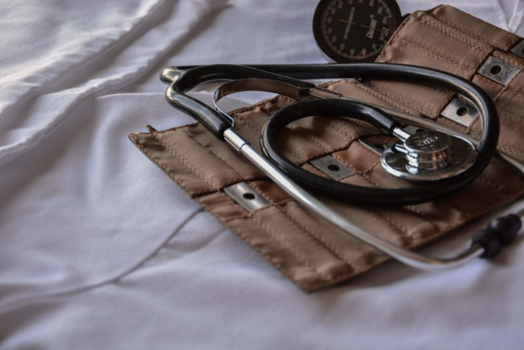 Stethoscope kit on a cotton bed