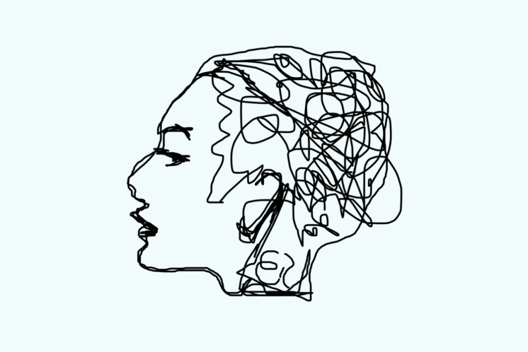 Abstract picture of a woman with brain made up of squiggly lines