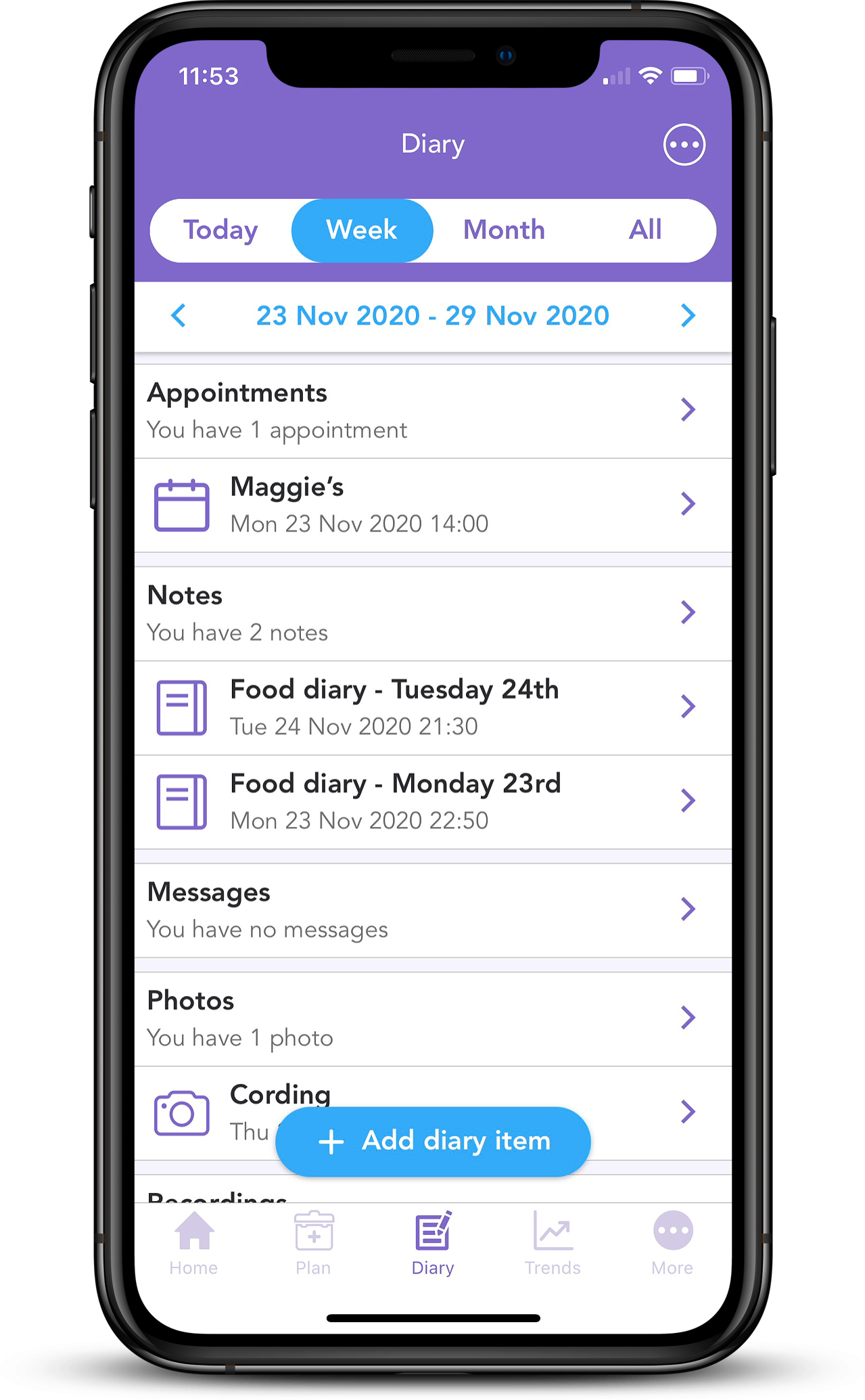 iPhone XS Mockup of Diary page in OWise