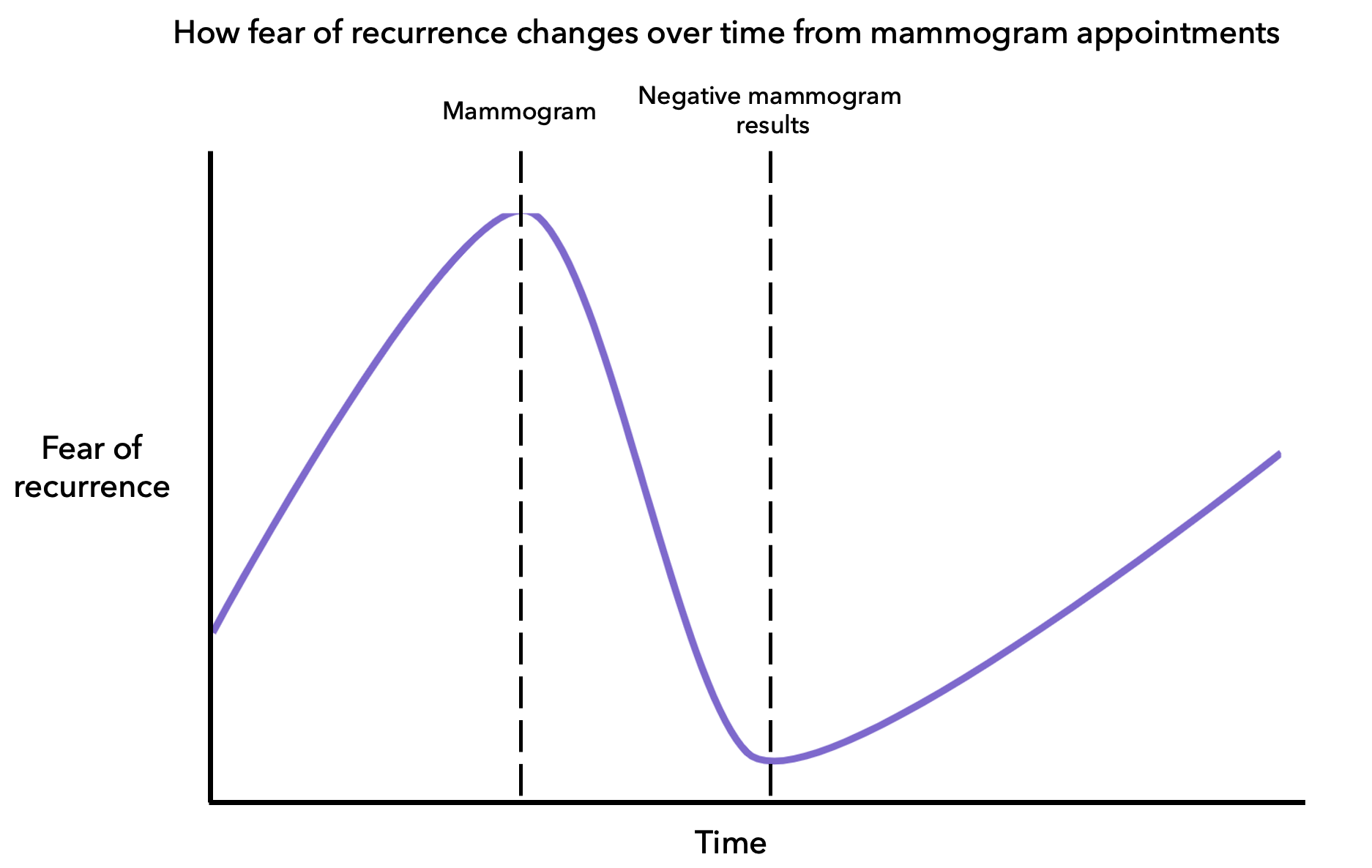 Diagram showing changes in fear of recurrence