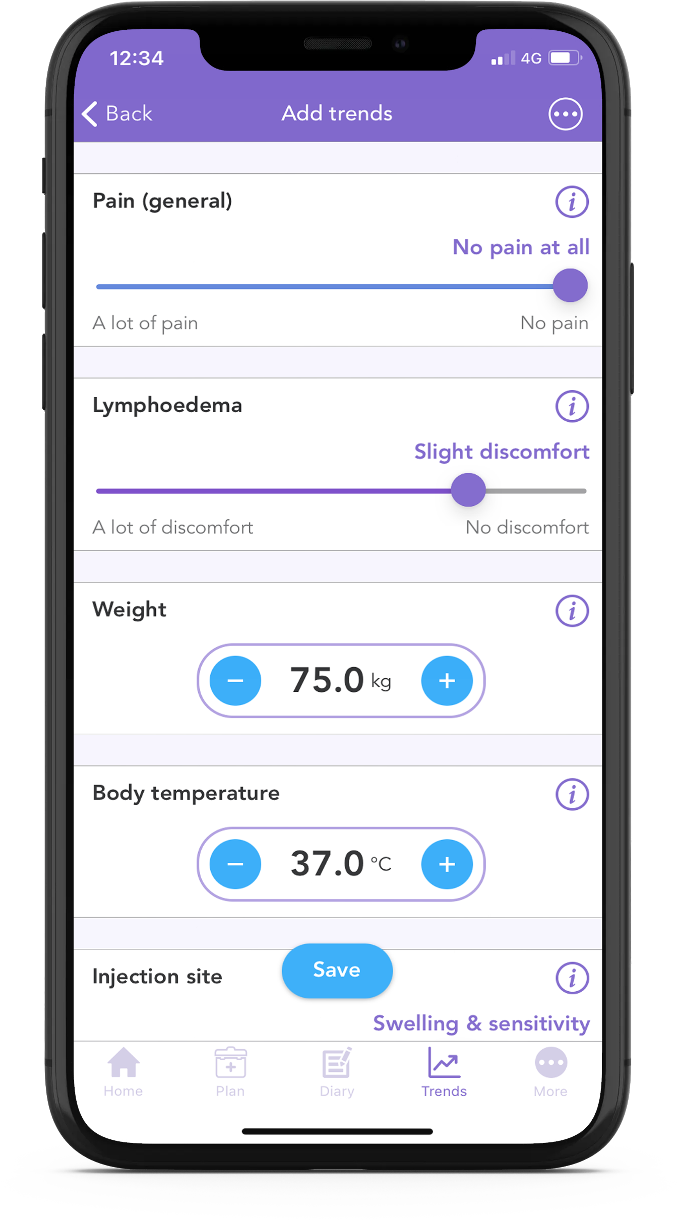 track your symptoms of lymphoedema